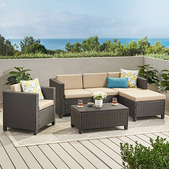 Buy Pueblo Outdoor Wicker L Shaped Sectional Sofa Set With Intended For Most Recently Released Owego L Shaped Sectional Sofas (View 24 of 25)