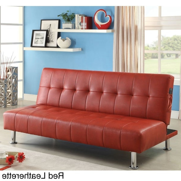 Celine Sectional Futon Sofas With Storage Camel Faux Leather Pertaining To Favorite Furniture Of America Oray Modern Black Leatherette Tufted (View 10 of 25)