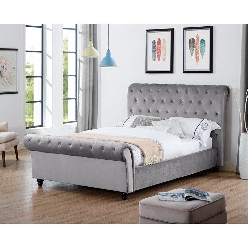 Celine Sectional Futon Sofas With Storage Camel Faux Leather Throughout 2018 Celine Plain Velvet Double Or King Size Grey Silver (View 17 of 25)