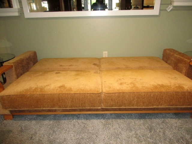 Celine Sectional Futon Sofas With Storage Camel Faux Leather Throughout Well Known Futon/Storage Sofa At The Missing Piece (View 22 of 25)