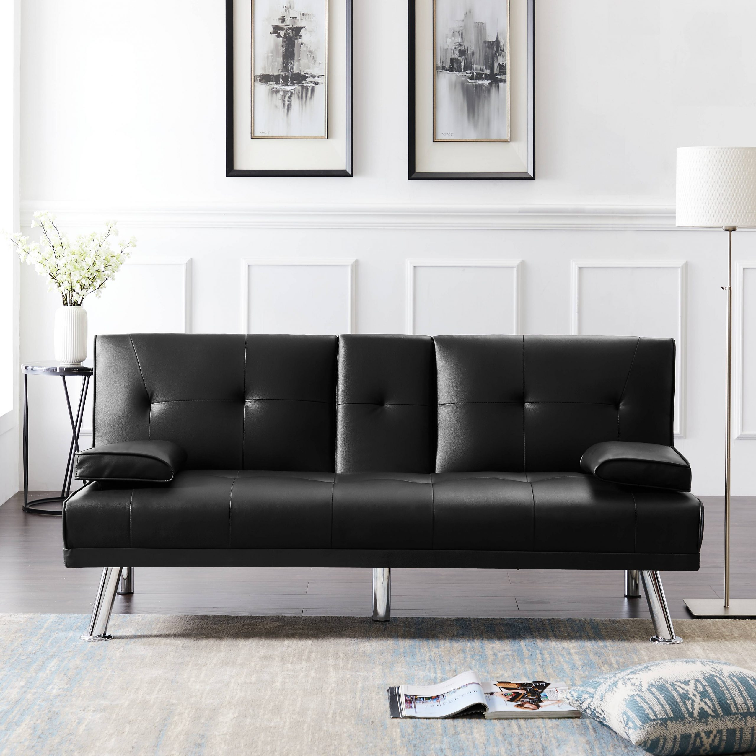 Celine Sectional Futon Sofas With Storage Reclining Couch Regarding Popular Sleeper Sofa, Urhomepro Modern Faux Leather Upholstery (View 8 of 25)