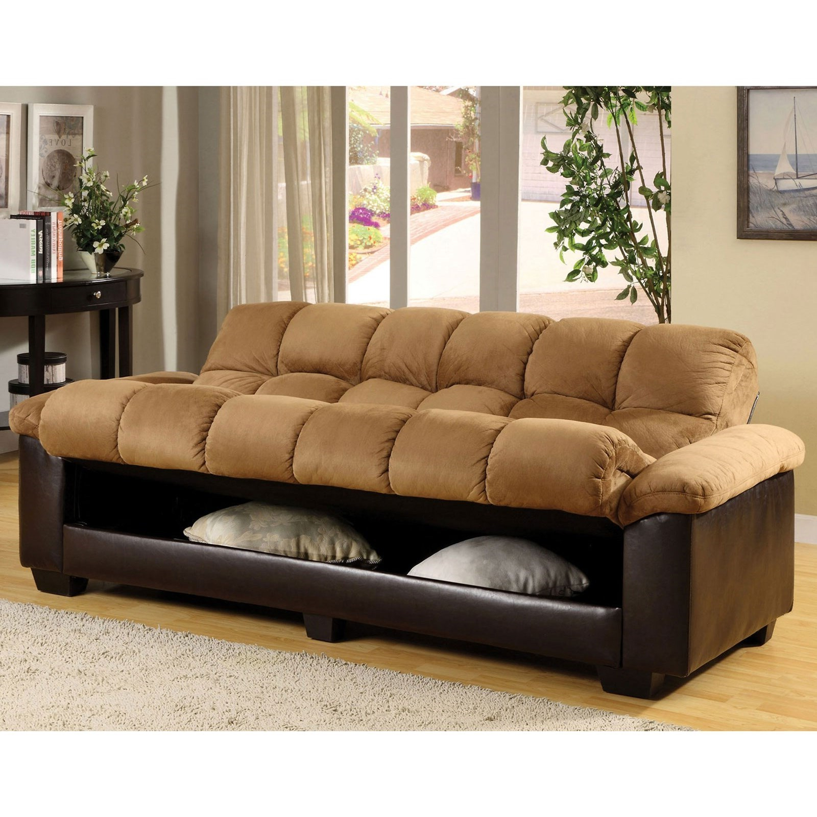 Celine Sectional Futon Sofas With Storage Reclining Couch Within Famous Furniture Of America Cozy Microfiber Futon Sofa Bed With (View 13 of 25)