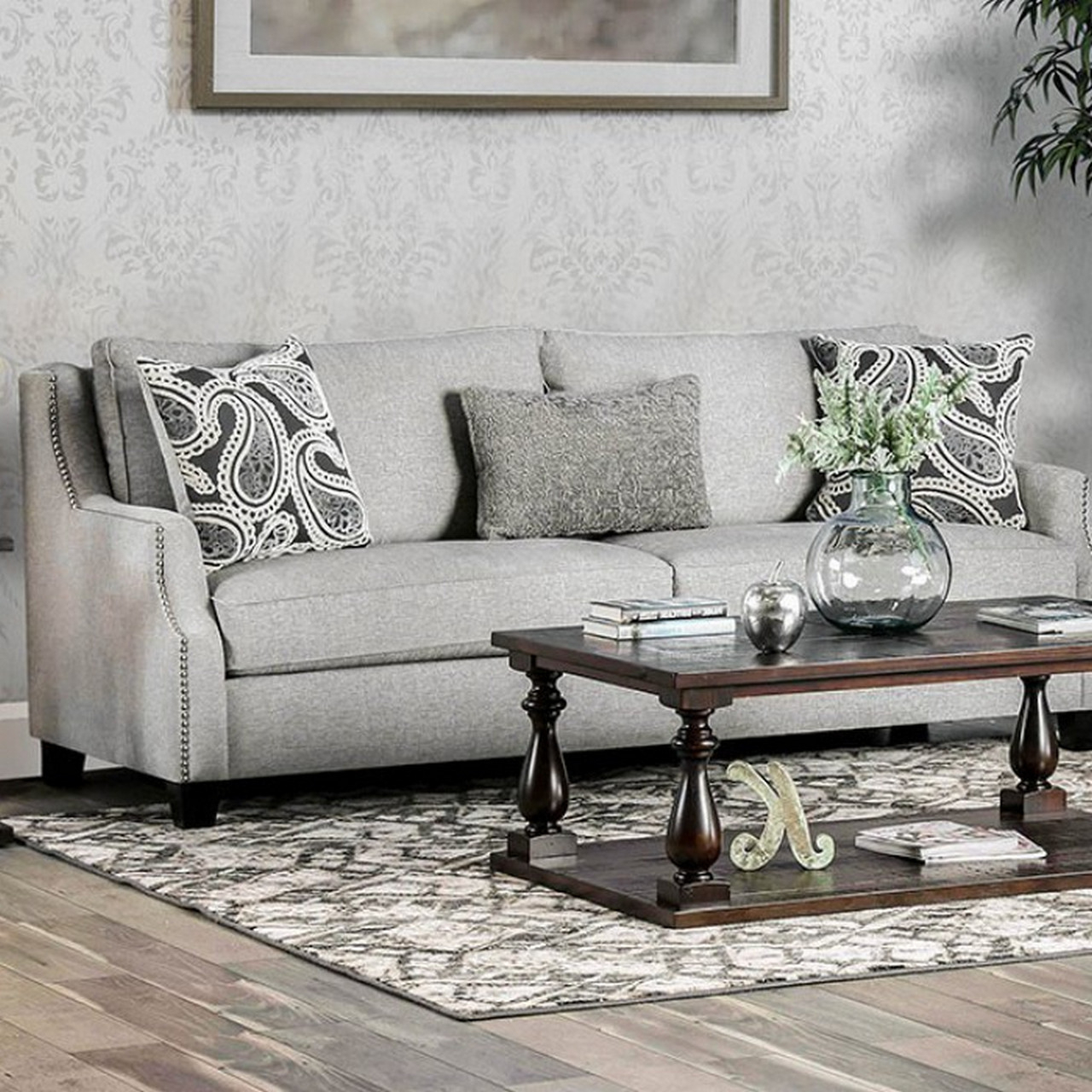 Chantal Contemporary Grey Fabric Sloped Arms Sofa With Regarding Famous Radcliff Nailhead Trim Sectional Sofas Gray (View 22 of 25)
