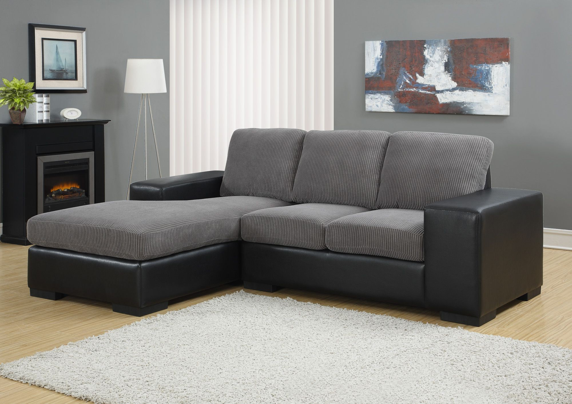 Charcoal Gray Corduroy/Black Sofa Sectional From Monarch With Regard To Popular Gray Sofas (View 2 of 15)
