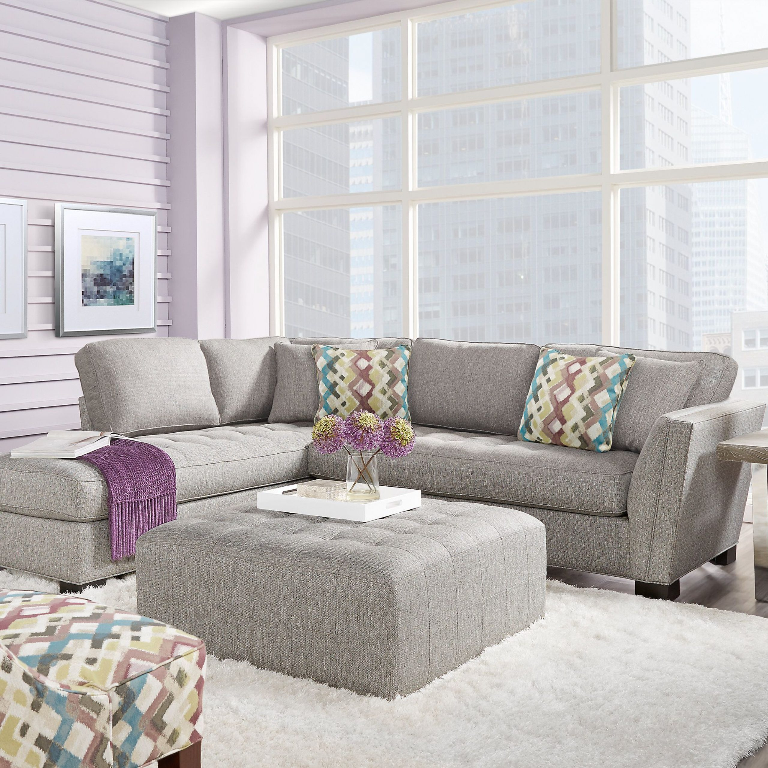 Cindy Crawford Home Calvin Heights Gray 2 Pc Sectional For Widely Used Calvin Concrete Gray Sofas (View 2 of 15)