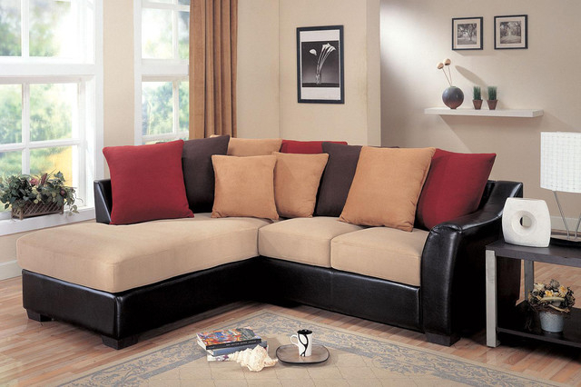 Coaster Small Beige Microfiber Leather Sectional Sofa Within Favorite Bonded Leather All In One Sectional Sofas With Ottoman And 2 Pillows Brown (View 6 of 25)