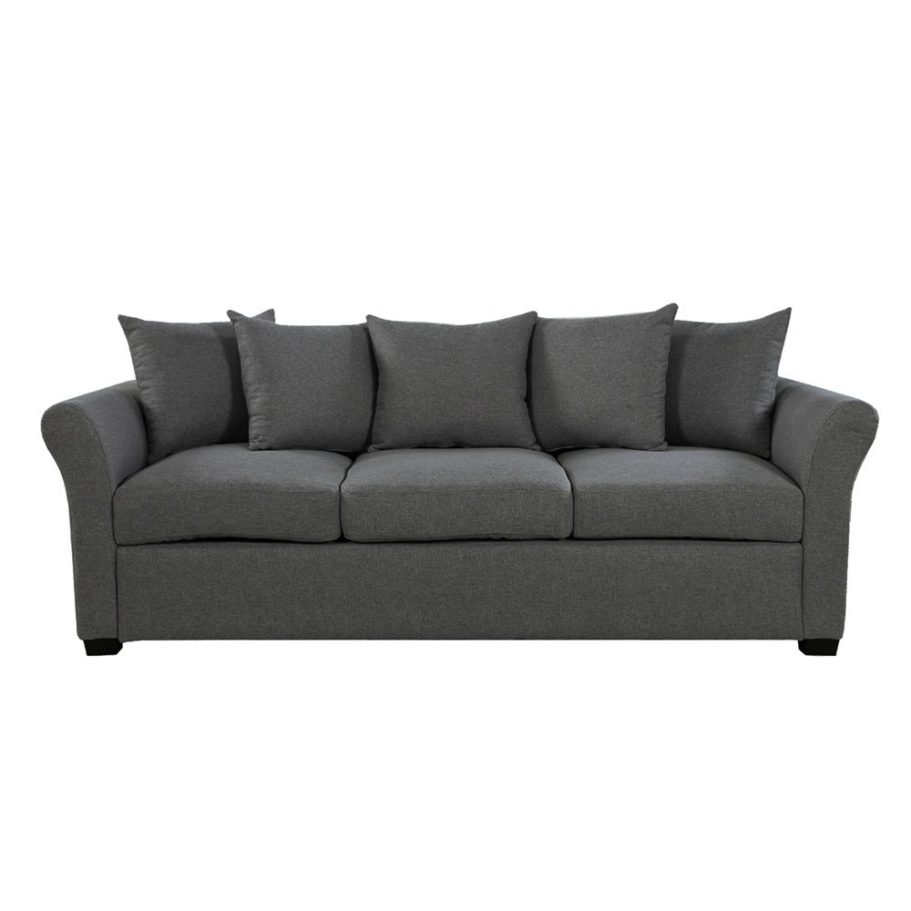 Contemporary Comfortable Linen Fabric Sofa For Living Room Within Most Popular Polyfiber Linen Fabric Sectional Sofas Dark Gray (View 23 of 25)