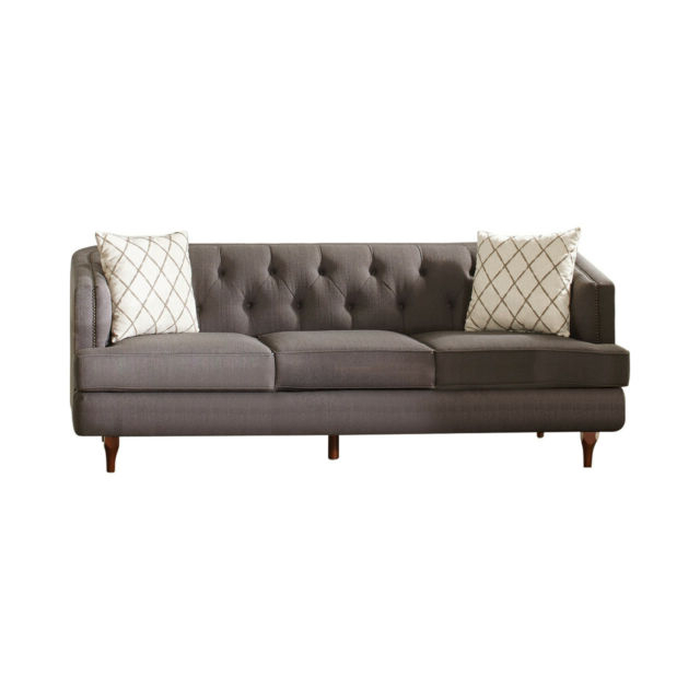 Contemporary Grey Color Upholster Nailhead Trim Sofa In Preferred Radcliff Nailhead Trim Sectional Sofas Gray (View 14 of 25)