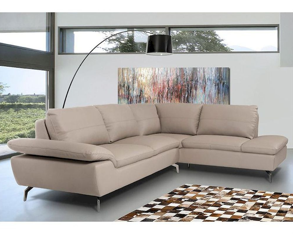 Contemporary Sectional Sofa In Grey Leather 44L5990 With Regard To Well Known Ludovic Contemporary Sofas Light Gray (View 2 of 25)