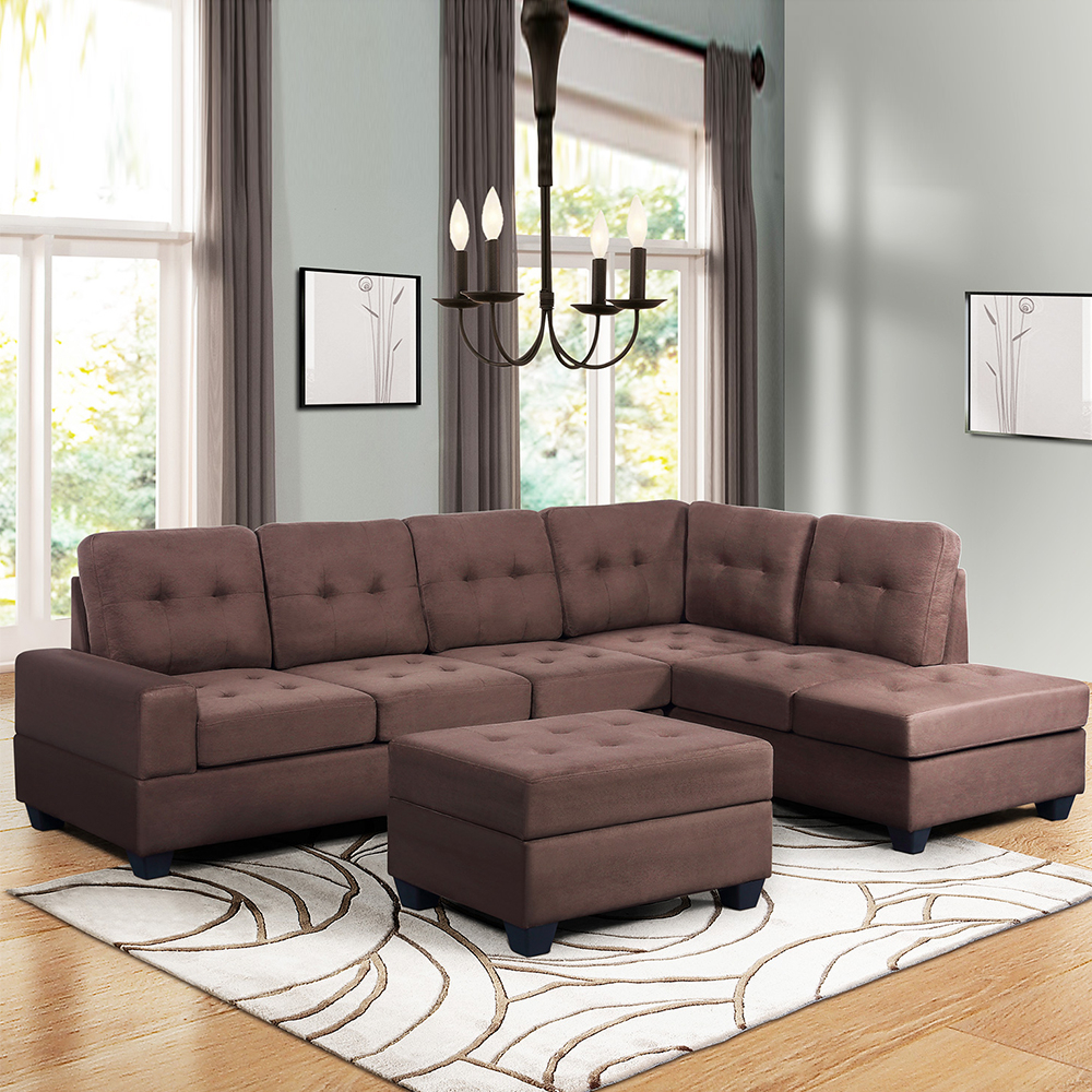 """Convertible Sectional Sofa Couch, 103"""" L Shaped Mid Within Most Recently Released Verona Mid Century Reversible Sectional Sofas (View 14 of 25)"""