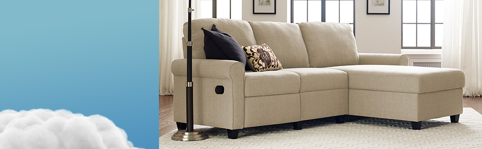 Copenhagen Reclining Sectional Sofas With Left Storage Chaise Within Current Amazon: Serta Copenhagen Reclining Sectional With Left (View 5 of 25)
