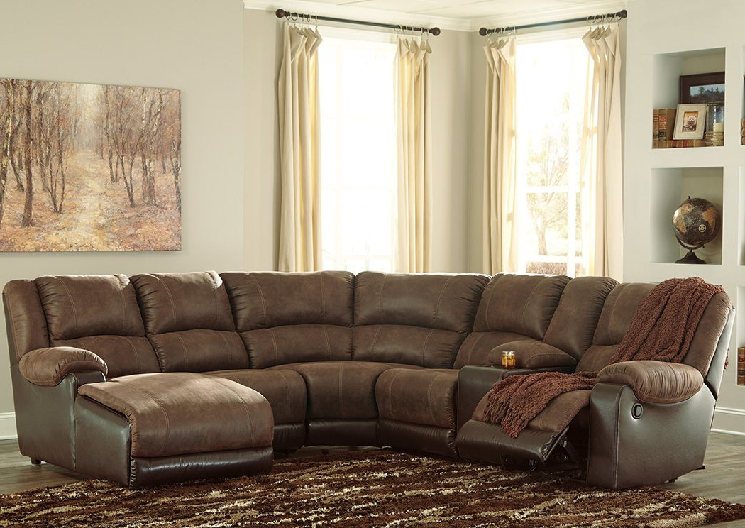 Copenhagen Reclining Sectional Sofas With Right Storage Chaise With Regard To 2018 Nantahala Coffee Right Facing Corner Chaise Sectional W (View 24 of 25)