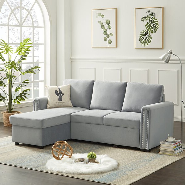 "Copenhagen Reversible Small Space Sectional Sofas With Storage For Favorite Rosdorf Park 83"" Velvet Sleeper Sofa Bed Reversible L (View 21 of 25)"