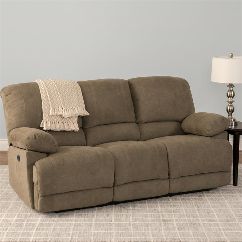 Corliving Lea Brown Chenille Fabric Power Reclining Sofa In Well Liked Power Reclining Sofas (View 13 of 15)