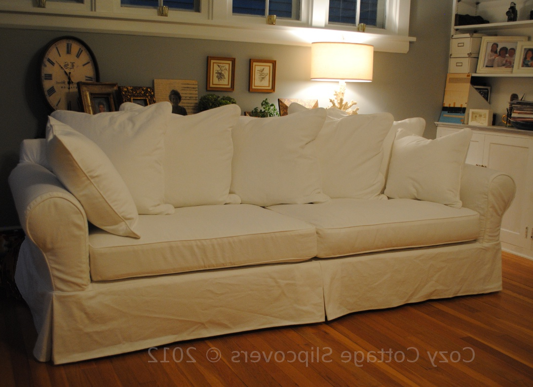 Cozy Cottage Slipcovers: Pillow Back Sofa Slipcover In Widely Used Lyvia Pillowback Sofa Sectional Sofas (View 16 of 25)