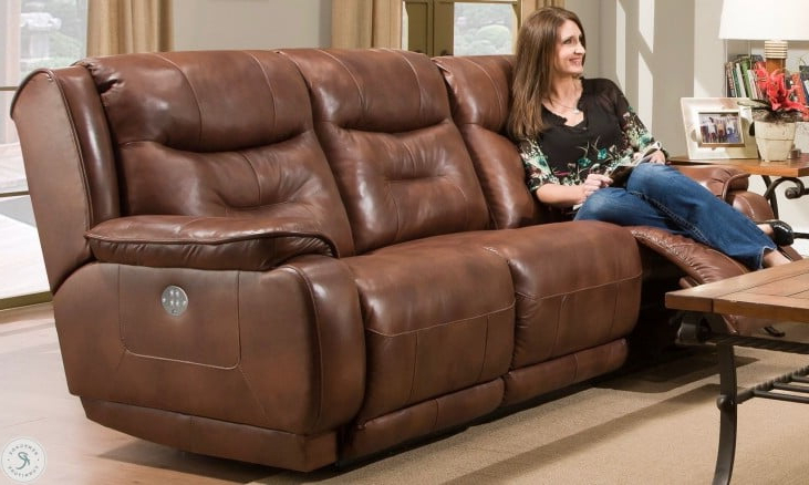 Crescent Rustico Leather Power Reclining Sofa With Power For Widely Used Raven Power Reclining Sofas (View 11 of 15)