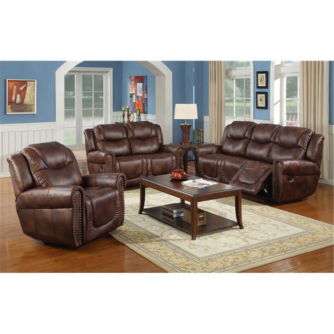 Current 3Pc Bonded Leather Upholstered Wooden Sectional Sofas Brown With Regard To Lifestyle Furniture Lsfgs3700 3 Piece Luxurious Reclining (View 4 of 25)