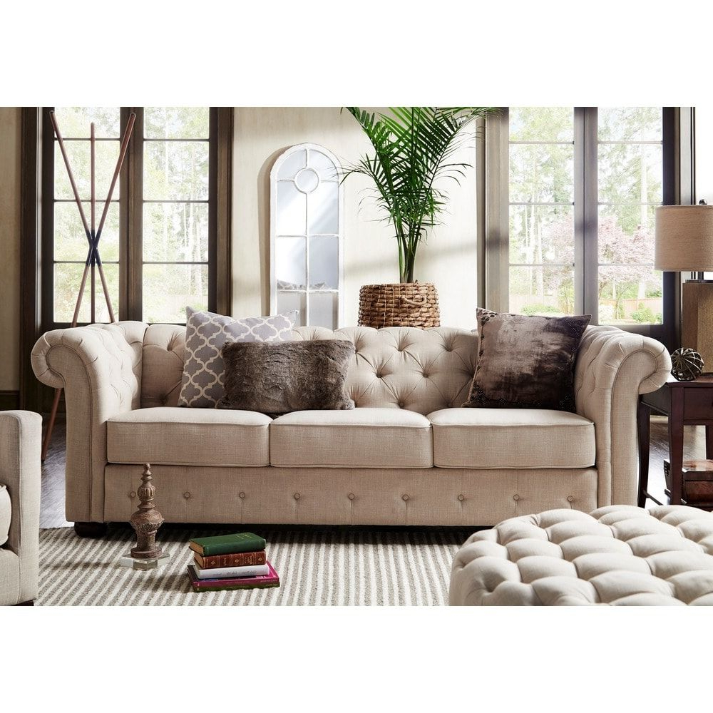 Current Artisan Beige Sofas Within Knightsbridge Beige Fabric Button Tufted Chesterfield Sofa (View 8 of 15)