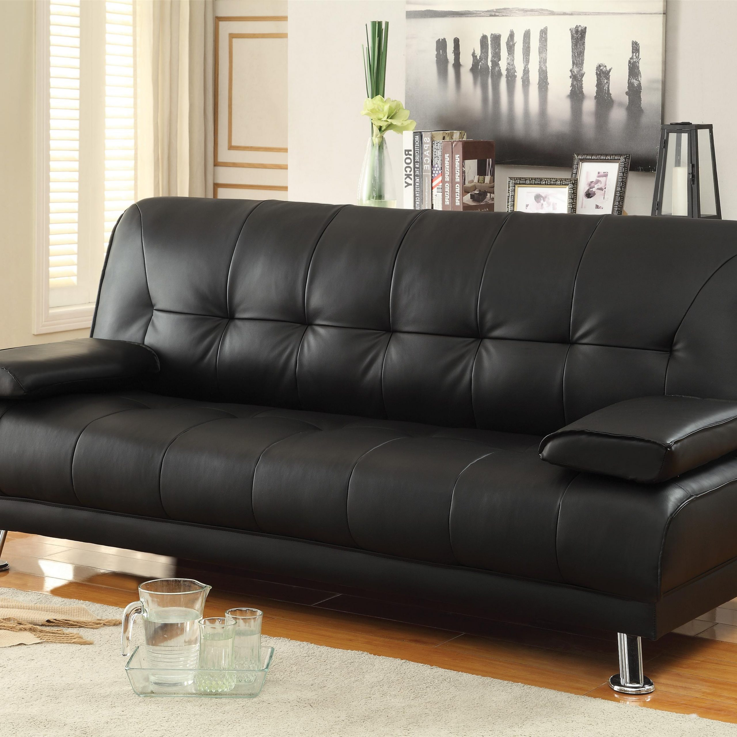 Current Celine Sectional Futon Sofas With Storage Reclining Couch Within Sofa Beds And Futons Faux Leather Convertible Sofa Bed (View 1 of 25)