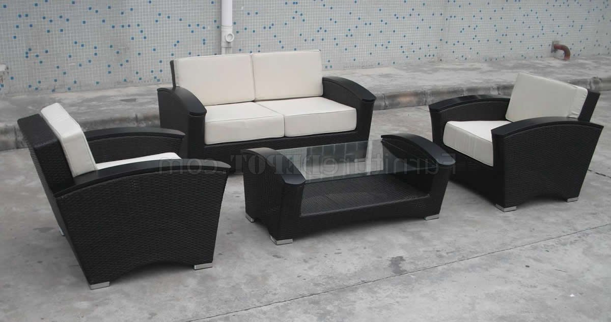 Current Chocolate Whicker Modern 4Pc Two Tone Outdoor Sofa Set Intended For 4Pc Beckett Contemporary Sectional Sofas And Ottoman Sets (View 6 of 25)