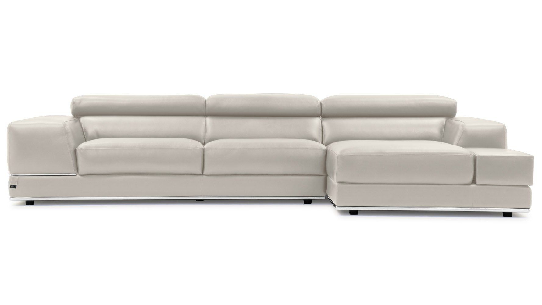Current Encore Light Grey Leather Sofa Left Chaise — Read More In 2Pc Crowningshield Contemporary Chaise Sofas Light Gray (View 23 of 25)