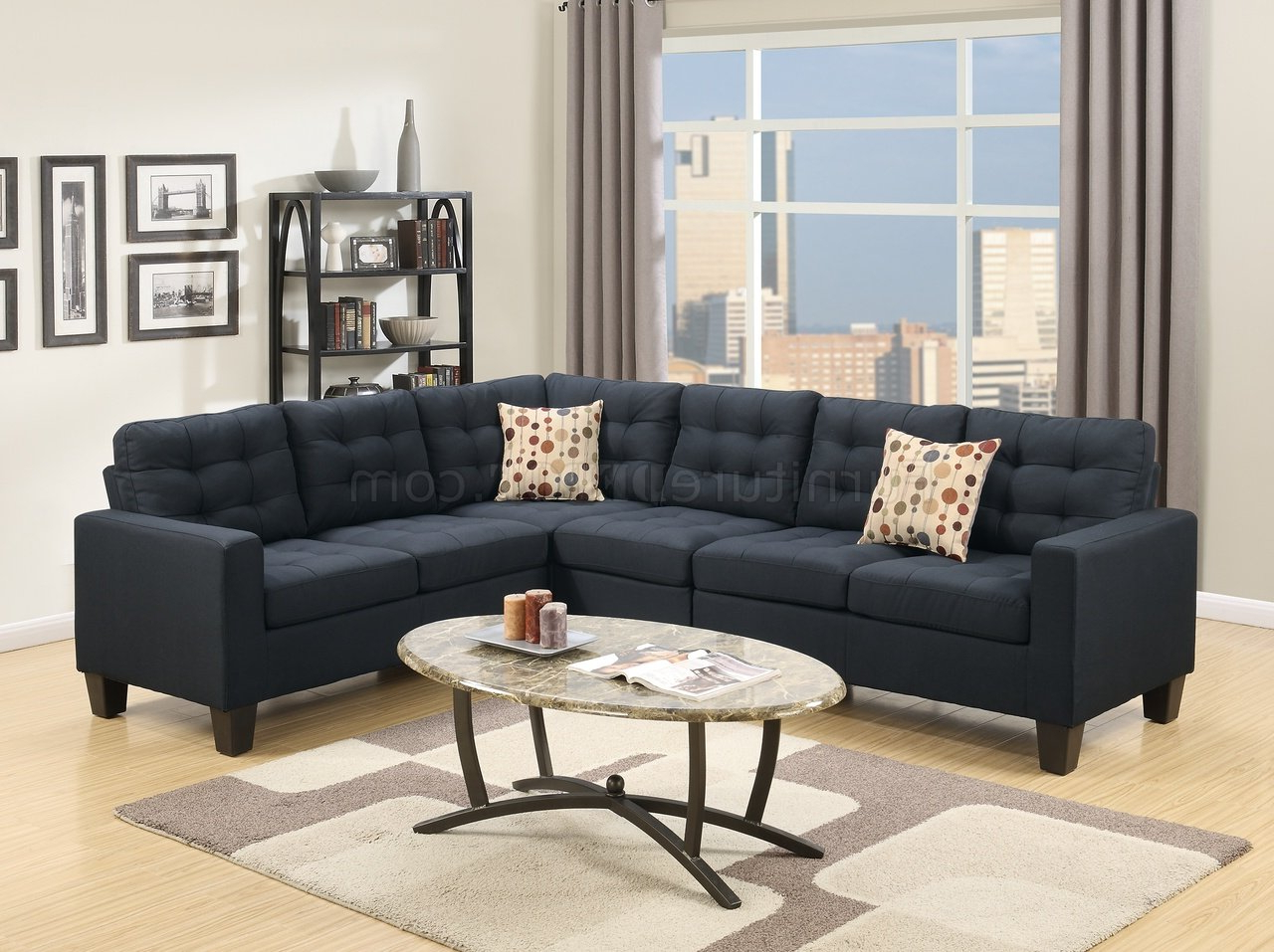 Current F6937 Sectional Sofa In Black Linen Like Fabricboss For Polyfiber Linen Fabric Sectional Sofas Dark Gray (View 13 of 25)