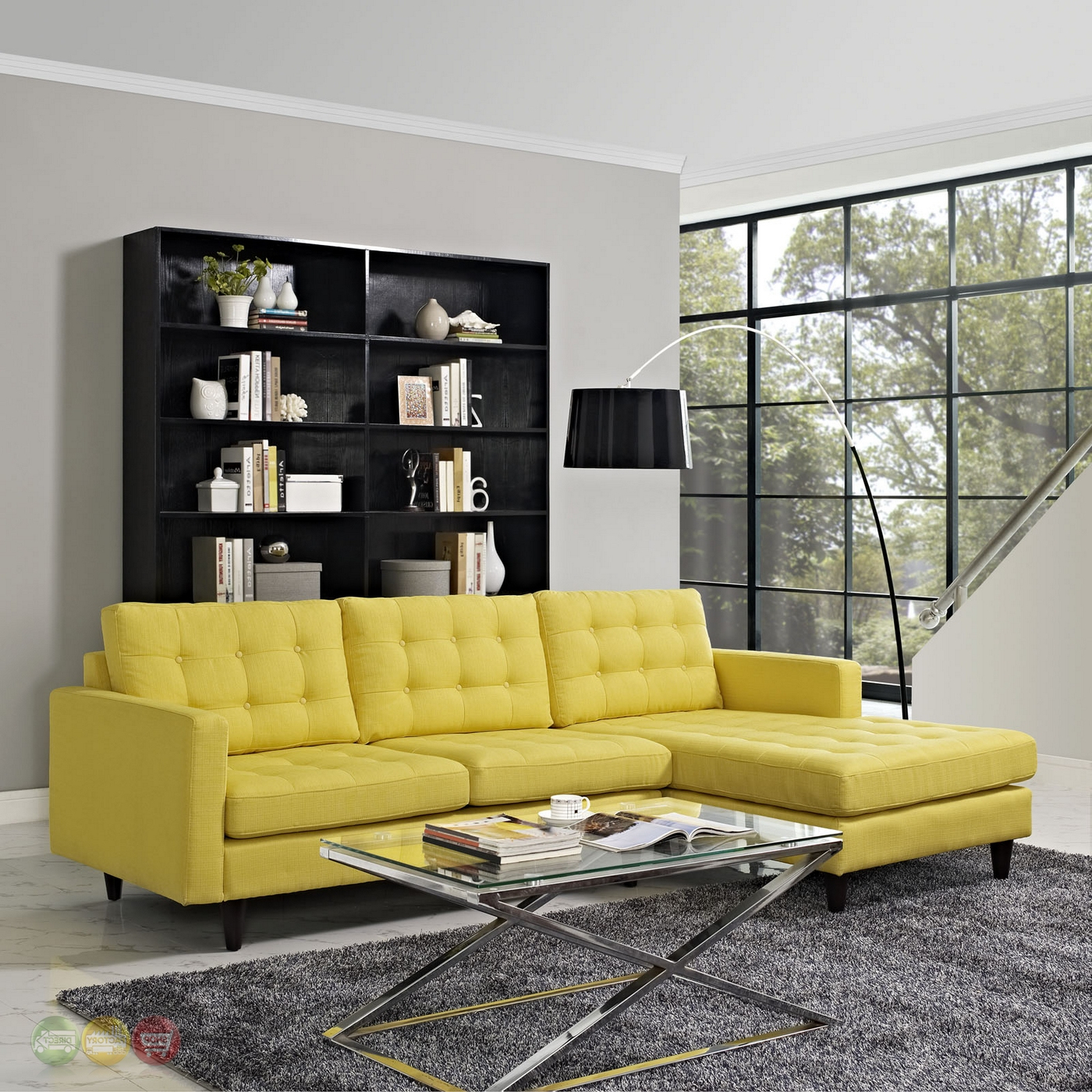 Current Florence Mid Century Modern Left Sectional Sofas Inside Mid Century Modern Empress Left Facing Button Tufted (View 3 of 25)