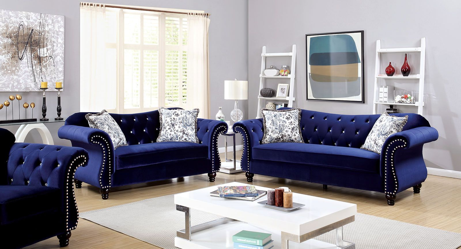 Current Furniture Of America Jolanda Blue Flannelette Fabric Intended For Molnar Upholstered Sectional Sofas Blue/Gray (View 19 of 25)