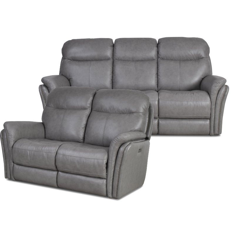 Current Gray Leather Match Power Reclining Sofa & Loveseat Intended For Gray Reclining Sofas (View 15 of 17)