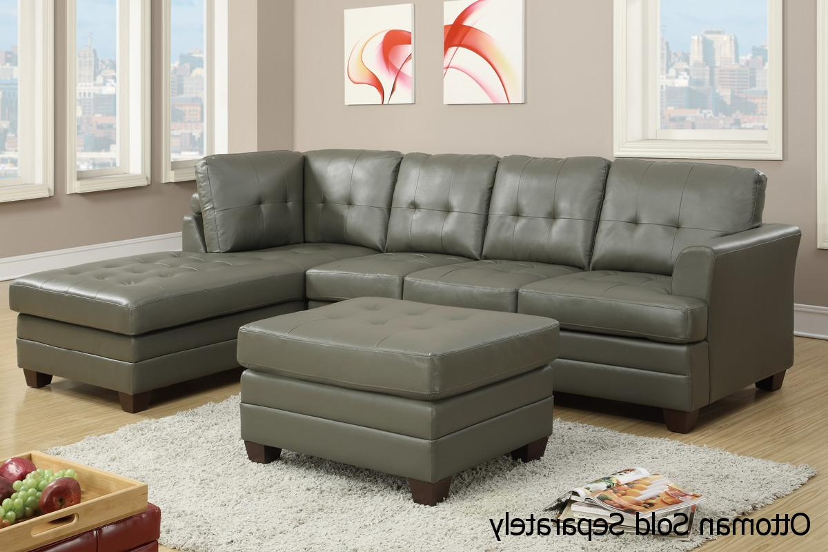 Current Grey Leather Sectional Sofa – Steal A Sofa Furniture With Noa Sectional Sofas With Ottoman Gray (View 7 of 25)