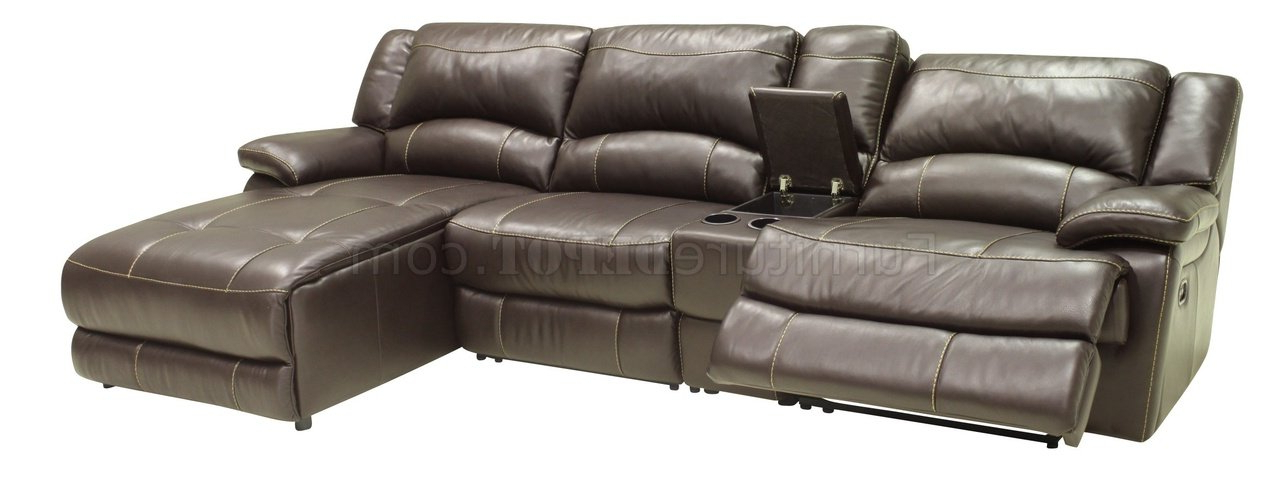 Current Mahogany Full Leather 4Pc Modern Sectional Reclining Sofa Inside 4Pc Beckett Contemporary Sectional Sofas And Ottoman Sets (View 10 of 25)