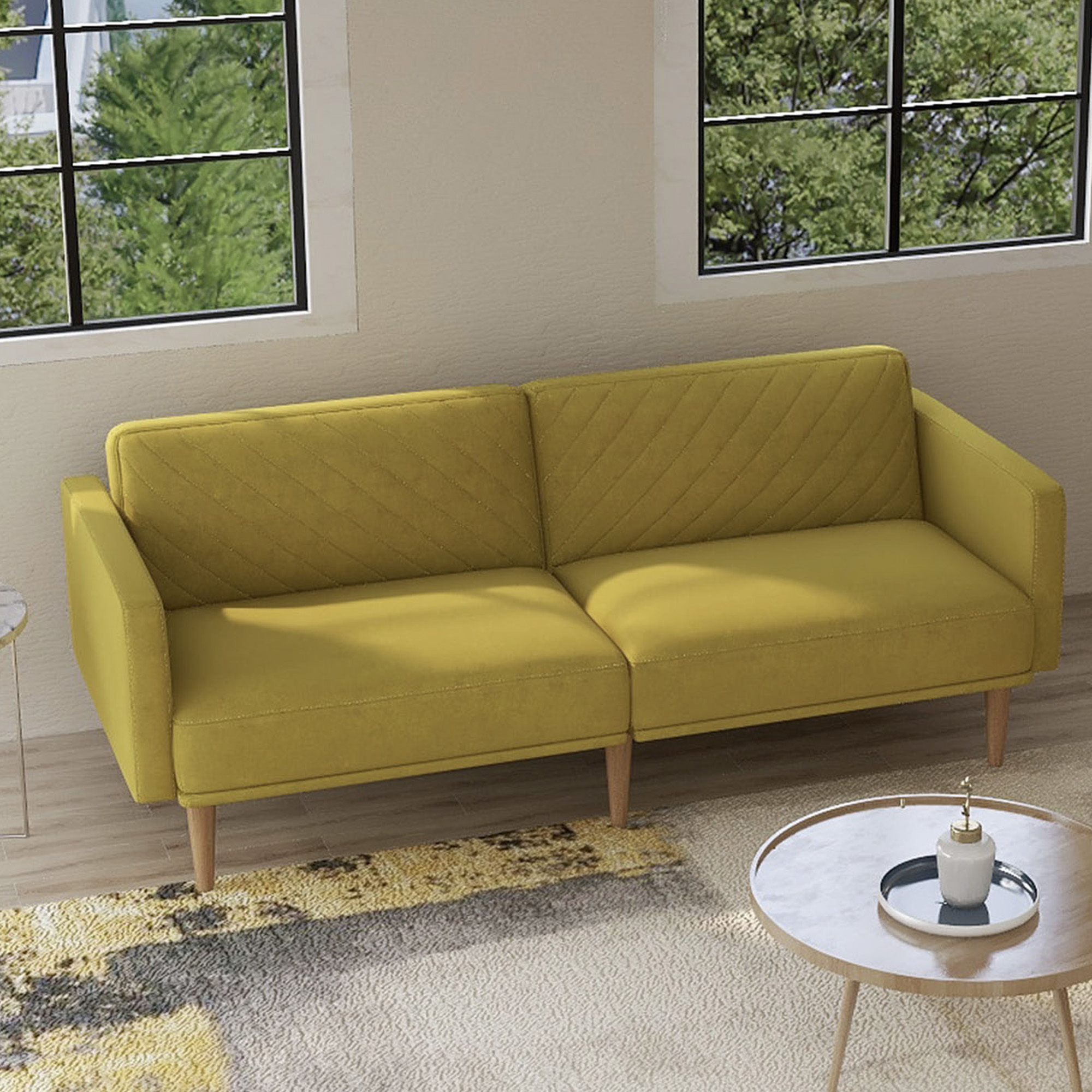 Current Mireille Modern And Contemporary Fabric Upholstered Sectional Sofas With Velvet Fabric Sofa Beds, Urhomepro Mid Century Modern (View 5 of 25)