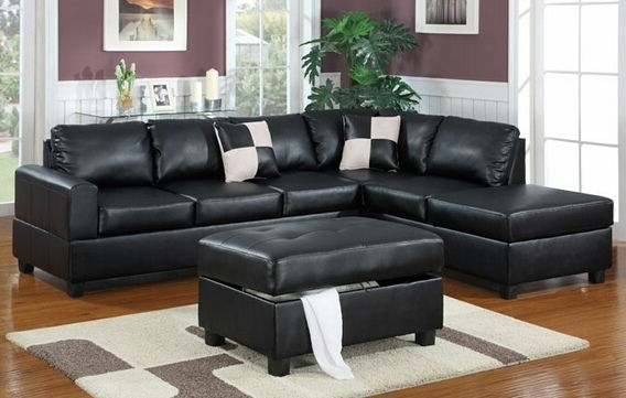Current Poundex F7355 3 Pc Latitude Run Lyke Black Faux Leather For Palisades Reversible Small Space Sectional Sofas With Storage (View 10 of 25)