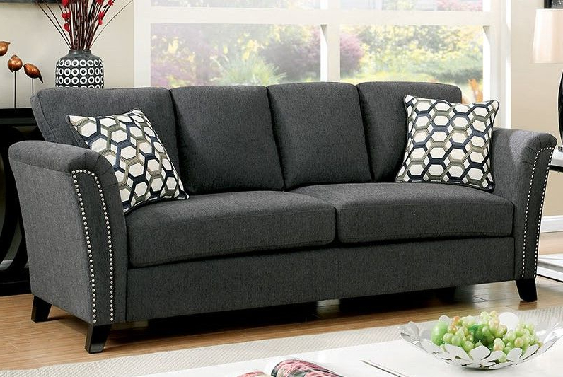 Current Radcliff Nailhead Trim Sectional Sofas Gray Pertaining To Campbell Contemporary Sofa Upholstered In Gray Fabric With (View 15 of 25)