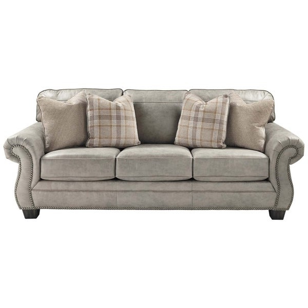 Current Shop Nailhead Trim Leatherette Queen Size Sofa Sleeper Throughout 2Pc Polyfiber Sectional Sofas With Nailhead Trims Gray (View 2 of 25)