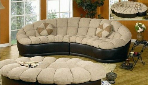 Curved Sectional Sofa Round Couch Ottoman Set Modern Throughout Best And Newest 4Pc Beckett Contemporary Sectional Sofas And Ottoman Sets (View 5 of 25)