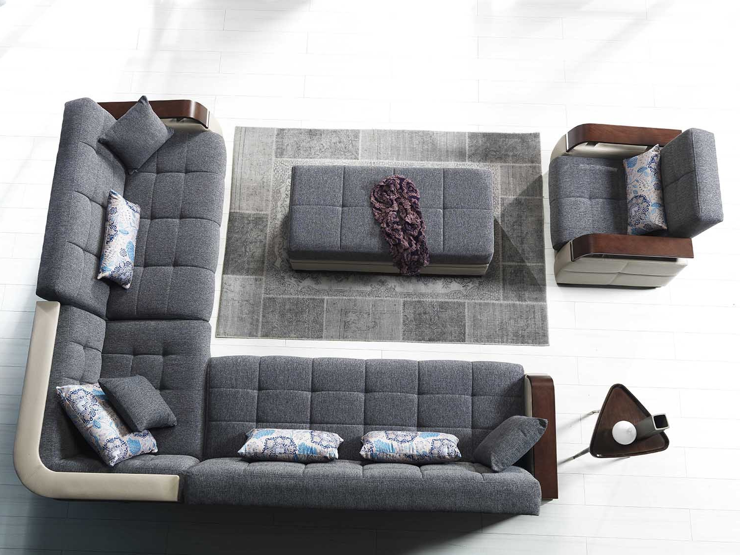 Dancing Sofa Bed Sectional In Nordby Gray – Fabric Within Most Current Prato Storage Sectional Futon Sofas (View 25 of 25)