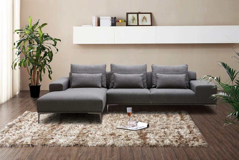 Dark Grey Fabric Sectional Sofa Nj Christopher (View 12 of 25)