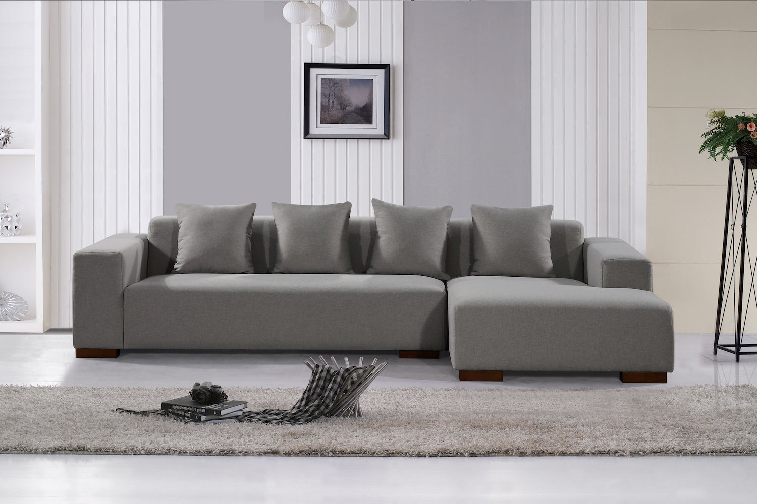 Deep Seating Sectional Sofa – Light Grey Fabric With Widely Used Noa Sectional Sofas With Ottoman Gray (View 14 of 25)