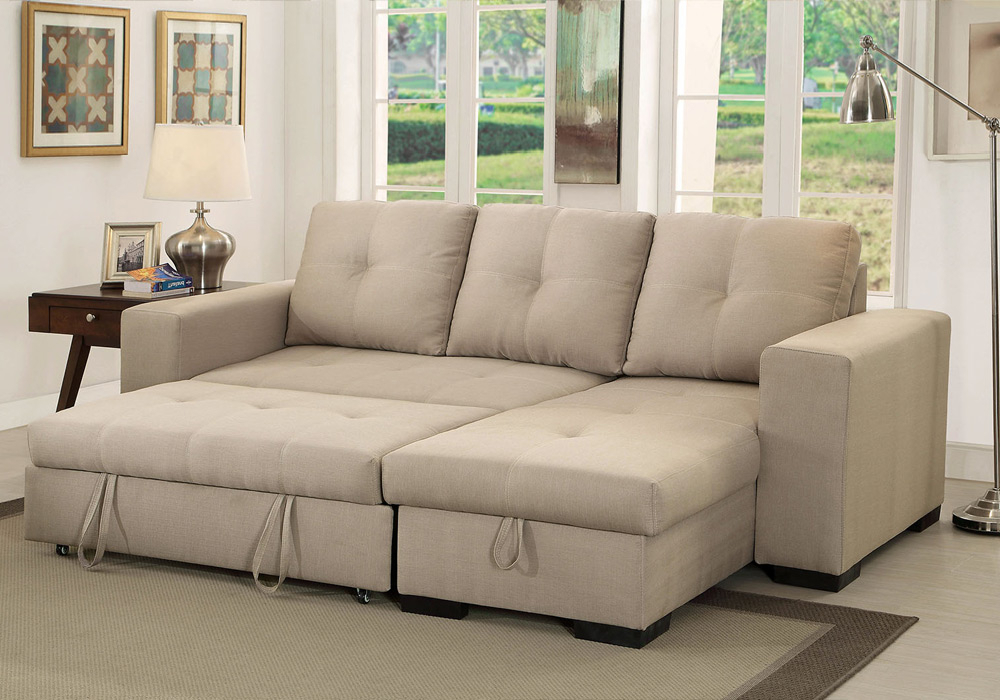 Denton Comfort Sectional Pull Out Sleeper Futon Reversible For 2018 Hartford Storage Sectional Futon Sofas (View 15 of 25)