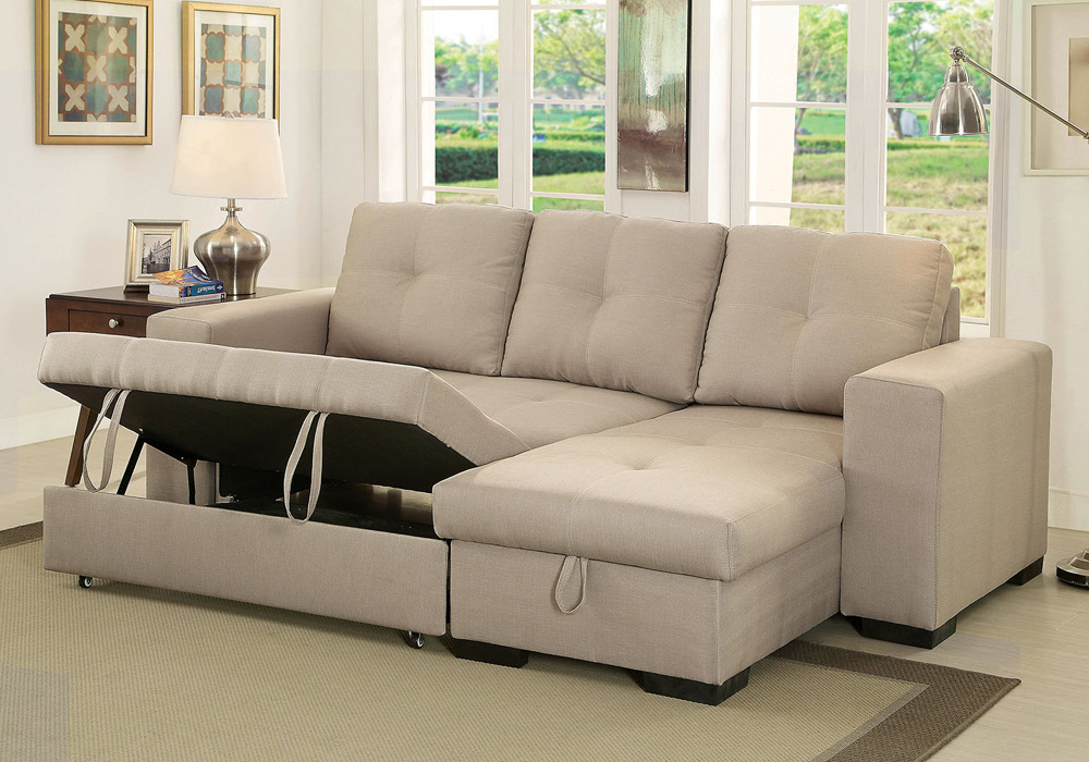 Denton Comfort Sectional Pull Out Sleeper Futon Reversible Within Trendy Copenhagen Reversible Small Space Sectional Sofas With Storage (View 25 of 25)