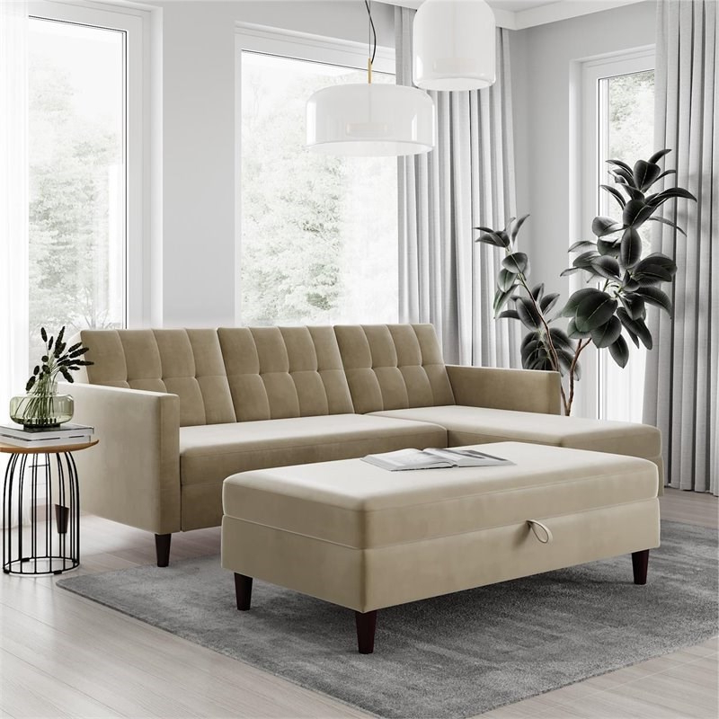 Dhp Hartford Storage Sectional Futon And Storage Ottoman for Most Recently Released 3Pc Hartford Storage Sectional Futon Sofas And Hartford Storage Ottoman Tan
