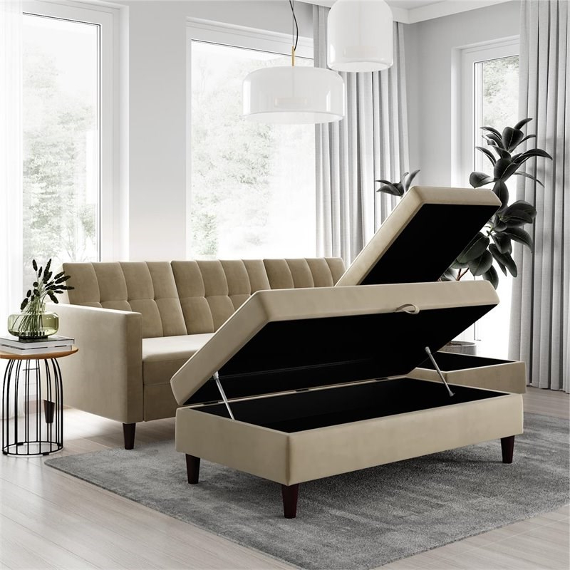 Dhp Hartford Storage Sectional Futon And Storage Ottoman Inside Best And Newest 3Pc Hartford Storage Sectional Futon Sofas And Hartford Storage Ottoman Tan (View 3 of 23)