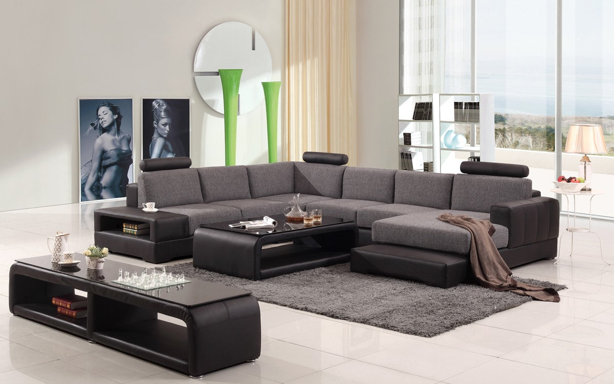 Divani Casa Modern Black & Grey Fabric & Leather Sectional Regarding Fashionable Mireille Modern And Contemporary Fabric Upholstered Sectional Sofas (View 17 of 25)