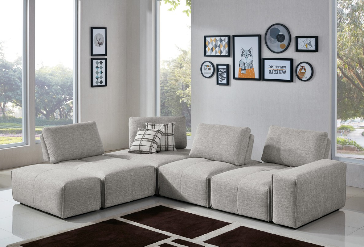 Divani Casa Platte Modern Grey Fabric Modular Sectional Sofa Intended For Most Up To Date Mireille Modern And Contemporary Fabric Upholstered Sectional Sofas (View 25 of 25)