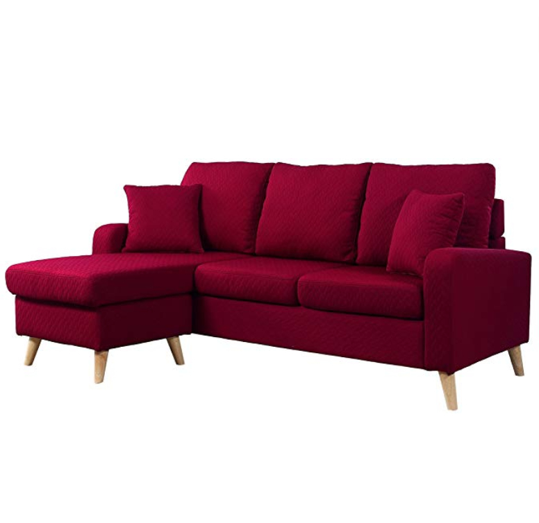 Divano Roma Furniture Mid Century Modern Linen Fabric With Most Current Verona Mid Century Reversible Sectional Sofas (View 15 of 25)