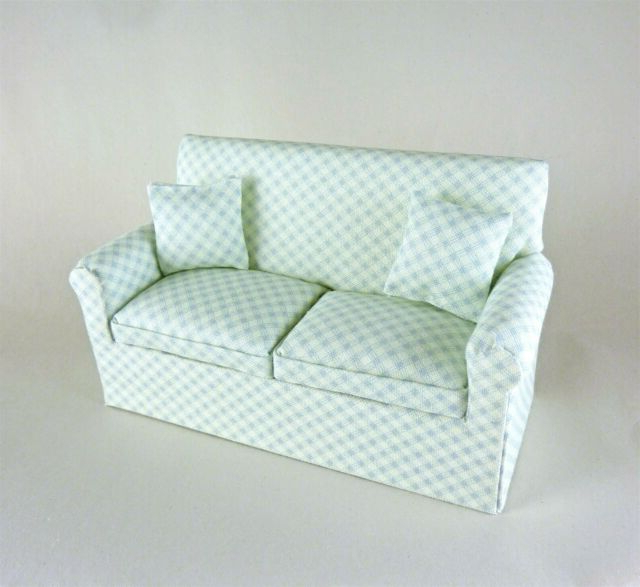Dollhouse Miniature Artisan Light Blue Green Sofa (View 1 of 15)