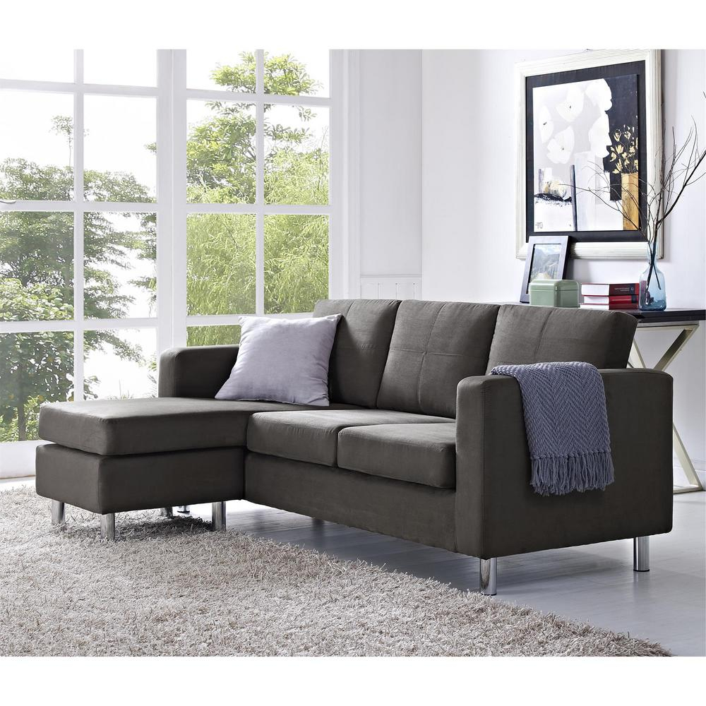 Dorel Small Spaces 2 Piece Configurable Gray Sectional Within 2018 Palisades Reversible Small Space Sectional Sofas With Storage (View 4 of 25)