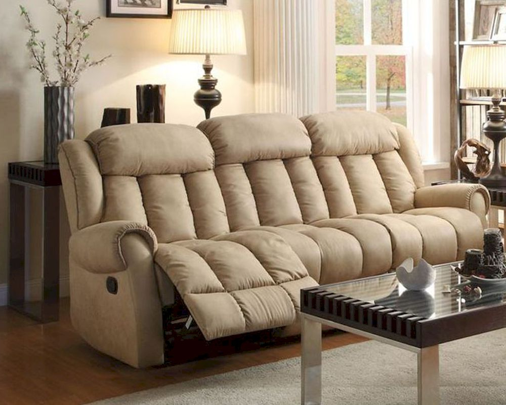 Double Reclining Sofa Mankato In Beigehomelegance El Throughout Latest Beige Sofas (View 15 of 15)