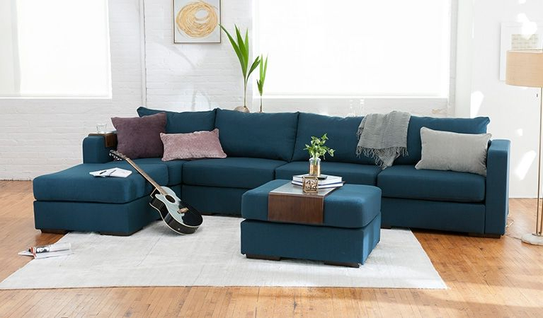Dream Navy 3 Piece Modular Sofas In Most Recently Released L Sectional Build A Couch With Extra Covers, Washable (View 1 of 15)